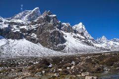 View of the Himalayas Awi, Cholatse, Tabuche Peak from Pherich Stock Image
