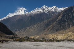 View of the Himalayas (Dhaulagiri) and the village of Jomsom Stock Image