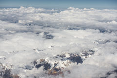 View of the Himalayas mountain range from the airplane window. New Delhi-Leh flight ,India. View of the Himalayas mountain range from the airplane window. New Stock Images