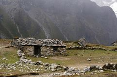 Ancient huts made of stones in Nepal, against the backdrop of  the Himalayas mountains. View on the Himalayas mountains. Trekking EBC - Everest Base Camp Royalty Free Stock Images
