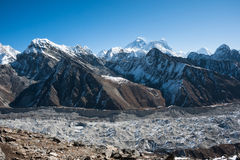 View of the himalayas and mt.Everest from Gokyo Ri. Mount Everest, Lhotse and Ngozumpa Glacier, Himalaya, Nepal Royalty Free Stock Photography
