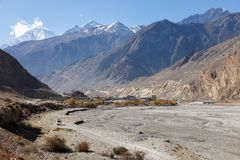 View of the Himalayas and the town of Jomsom. View of the Himalayas Dhaulagiri and the town of Jomsom Royalty Free Stock Images