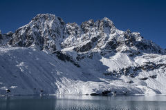 View of the Himalayas from the village of Gokyo Royalty Free Stock Images