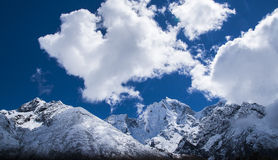 View of the Himalayas from the village of Pangboche Stock Photo