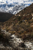 View of the Himalayas from the village of Pangboche Royalty Free Stock Photo