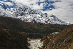 View of the Himalayas on the way between Pangboche and Dingboche Royalty Free Stock Photos