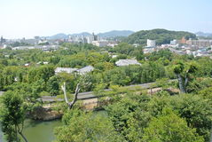 The view from Himeji-jo Castle in Japan in Hyogo prefecture. Royalty Free Stock Photography