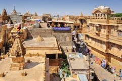 View of Hindu temples and houses inside Golden Fort of Jaisalmer Stock Image
