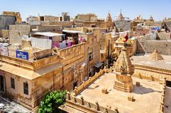View of Hindu temples and houses inside Golden Fort of Jaisalmer Stock Photo