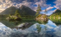 View of Hintersee lake in Bavarian Alps, Germany. Beautiful morning view of famous Hintersee lake in Berchtesgaden National Park, Upper Bavarian Alps, Germany Stock Photos