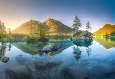View of Hintersee lake in Bavarian Alps, Germany. Mountain landscape and view of beautiful Hintersee lake in Berchtesgaden National Park, Upper Bavarian Alps stock photo
