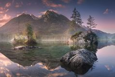 View of Hintersee lake in Bavarian Alps, Germany royalty free stock photography