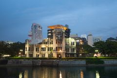 View of Hiroshima atomic dome in evening, Japan Stock Images