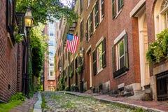 View of historic Acorn Street in Boston. MA USA royalty free stock photo