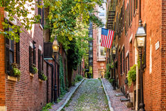 View of historic Acorn Street in Boston. MA USA royalty free stock photography
