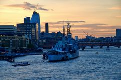 HMS Belfast in London Stock Photos