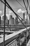 View from historic Brooklyn Bridge to  New York City, New York, Stock Images