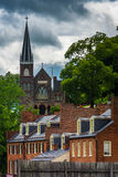 View of historic buildings and St. Peters Roman Catholic Church, Royalty Free Stock Photography