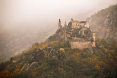View of historic castle ruin, colorful autumn Stock Photos