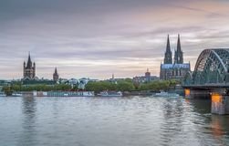 View of Historic center of Cologne, Germany. View of Historic center of Cologne with Hohenzollern Bridge from Rhein river, Germany stock image