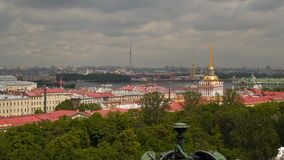 View of historic center from the colonnade of St. Isaac`s Cathedral stock video