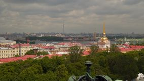 View of historic center from the colonnade of St. Isaac`s Cathedral Royalty Free Stock Images