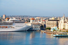 View of the  historic center of Havana with a cruise ship. Panoramic view of the  historic center of Havana with a cruise ship docked at the bay Stock Photography
