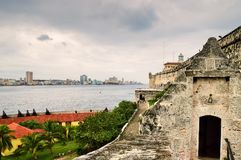 A view of the historic center of Havana and the Malecon Embankment from the fortress of El Morro, through the sea strait stock photos