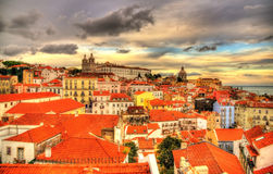 View of the historic center of Lisbon in the evening Royalty Free Stock Photo