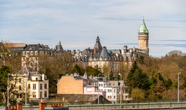 View of the historic center of Luxembourg city. View of Luxembourg city historic center Stock Photo