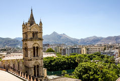 View of the historic centre and Cathedral from the roof in Paler. Palermo.Italy.May 26, 2017.View of the historic centre and Cathedral from the roof in Palermo royalty free stock images