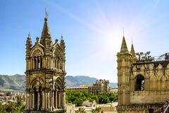 View of the historic centre and Cathedral from the roof in Paler. Palermo.Italy.May 26, 2017.View of the historic centre and Cathedral from the roof in Palermo stock photography
