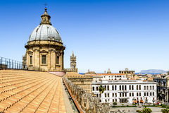 View of the historic centre and Cathedral from the roof in Paler. Palermo.Italy.May 26, 2017.View of the historic centre and Cathedral from the roof in Palermo stock image
