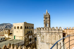 View of the historic centre and Cathedral from the roof in Paler. Palermo.Italy.May 26, 2017.View of the historic centre and Cathedral from the roof in Palermo royalty free stock photo