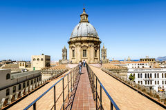 View of the historic centre and Cathedral from the roof in Paler. Palermo.Italy.May 26, 2017.View of the historic centre and Cathedral from the roof in Palermo royalty free stock image