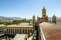View of the historic centre and Cathedral from the roof in Paler. Palermo.Italy.May 26, 2017.View of the historic centre and Cathedral from the roof in Palermo royalty free stock photos