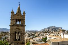 View of the historic centre and Cathedral from the roof in Paler. Palermo.Italy.May 26, 2017.View of the historic centre and Cathedral from the roof in Palermo royalty free stock photography