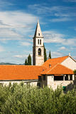 View of the historic church in Orebic Stock Photo