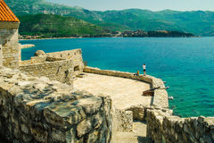 View from historic Citadel in Budva. View to shore from historic citadel in Budva, Montenegro Royalty Free Stock Images