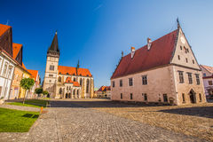 View of historic city center of Bardejov with town hall. Stock Image