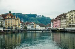Reuss river from wooden Chapel Bridge, Luzern, Switzerland royalty free stock photography