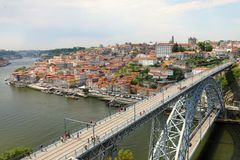 View of the historic city of Porto with the Dom Luiz I bridge, Portugal royalty free stock photography