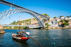 View of the historic city of Porto, Portugal with the Dom Luiz b. Stock Image