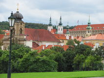View of historic city Prague, nice old landmarks and buildings, roofs and towers. Czech Republic, Europe Royalty Free Stock Images