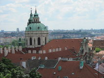 View of historic city Prague, nice old landmarks and buildings, roofs and towers. Czech Republic, Europe Stock Photo