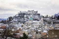 View of the historic city of Salzburg in winter royalty free stock images