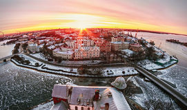 View of the historic city of Vyborg from St. Olav tower, at dawn Stock Photos