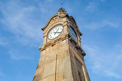 View of the historic clock Pegeluhr in Dusseldorf in Germany Stock Images