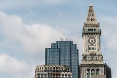 View of the historic Custom House skyscraper clock tower in skyline of Boston Massachusetts USA Royalty Free Stock Photos