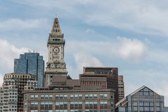View of the historic Custom House skyscraper clock tower in skyline of Boston Massachusetts USA Royalty Free Stock Image